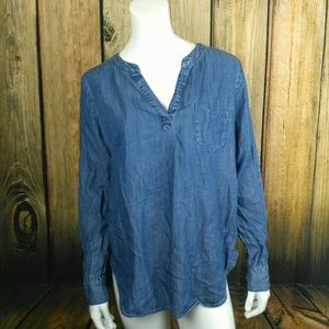 Loft outlet lounge pull over chambray top medium